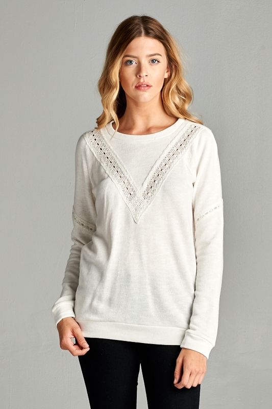 CROCHET LACE SWEATER - orangeshine.com