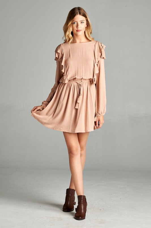 RUFFLE TASSEL CHIC DRESS - orangeshine.com