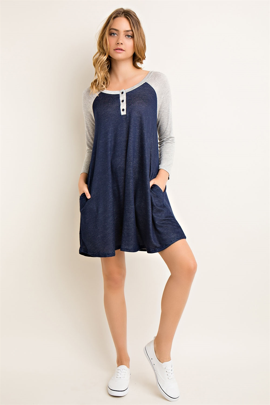 Solid Baseball Tee Dress - orangeshine.com