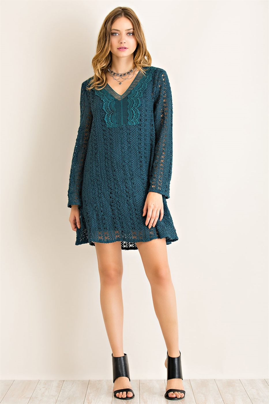 Solid Crochet Shift Dress - orangeshine.com