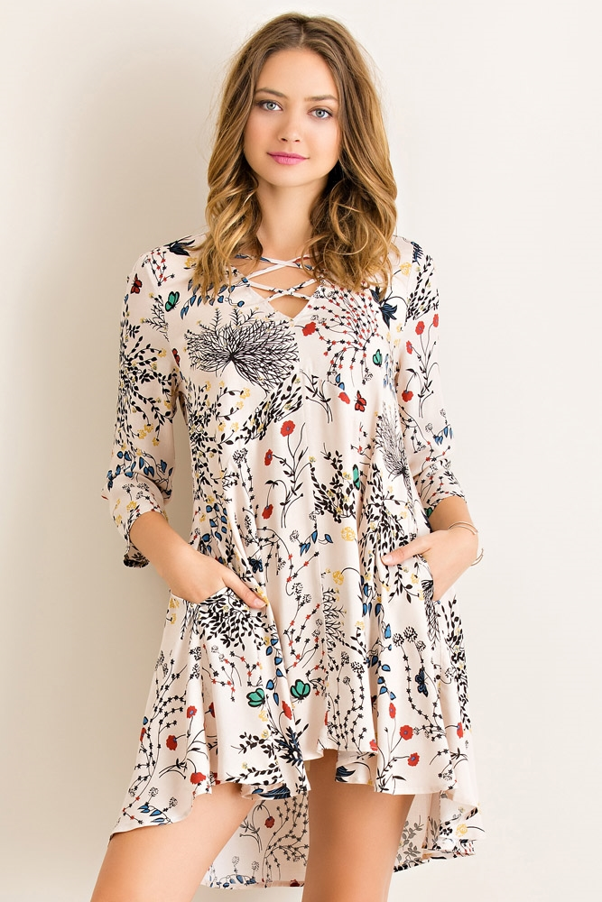 Floral Print Lace Up Dress - orangeshine.com