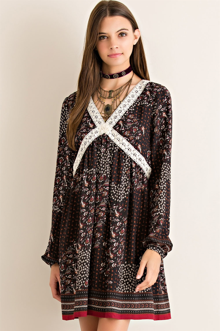 Border Print Babydoll Dress - orangeshine.com