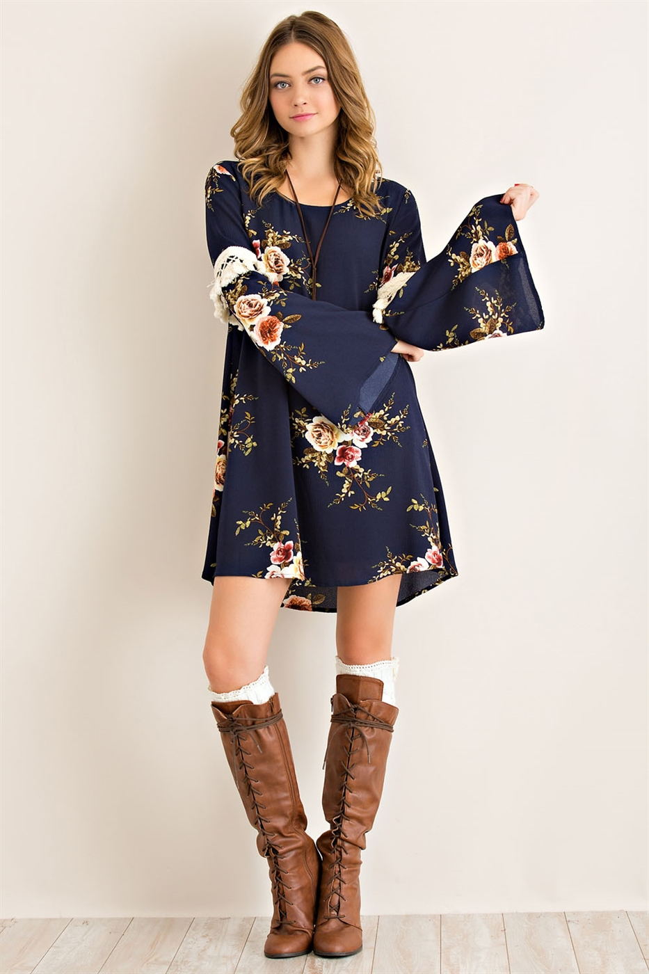Floral Print Babydoll Dress - orangeshine.com
