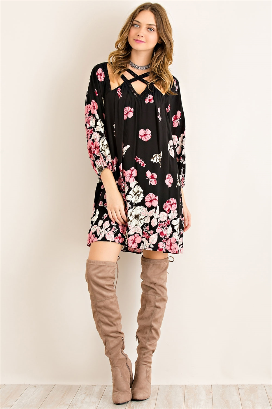 Floral Printed Shift Dress - orangeshine.com