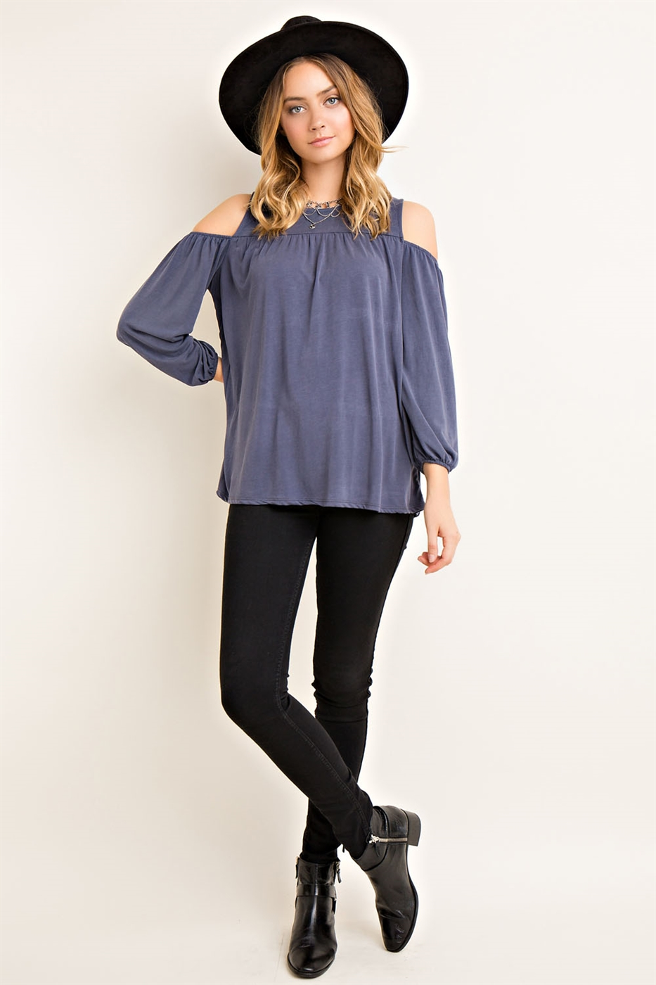 Solid Open Shoulder Top - orangeshine.com