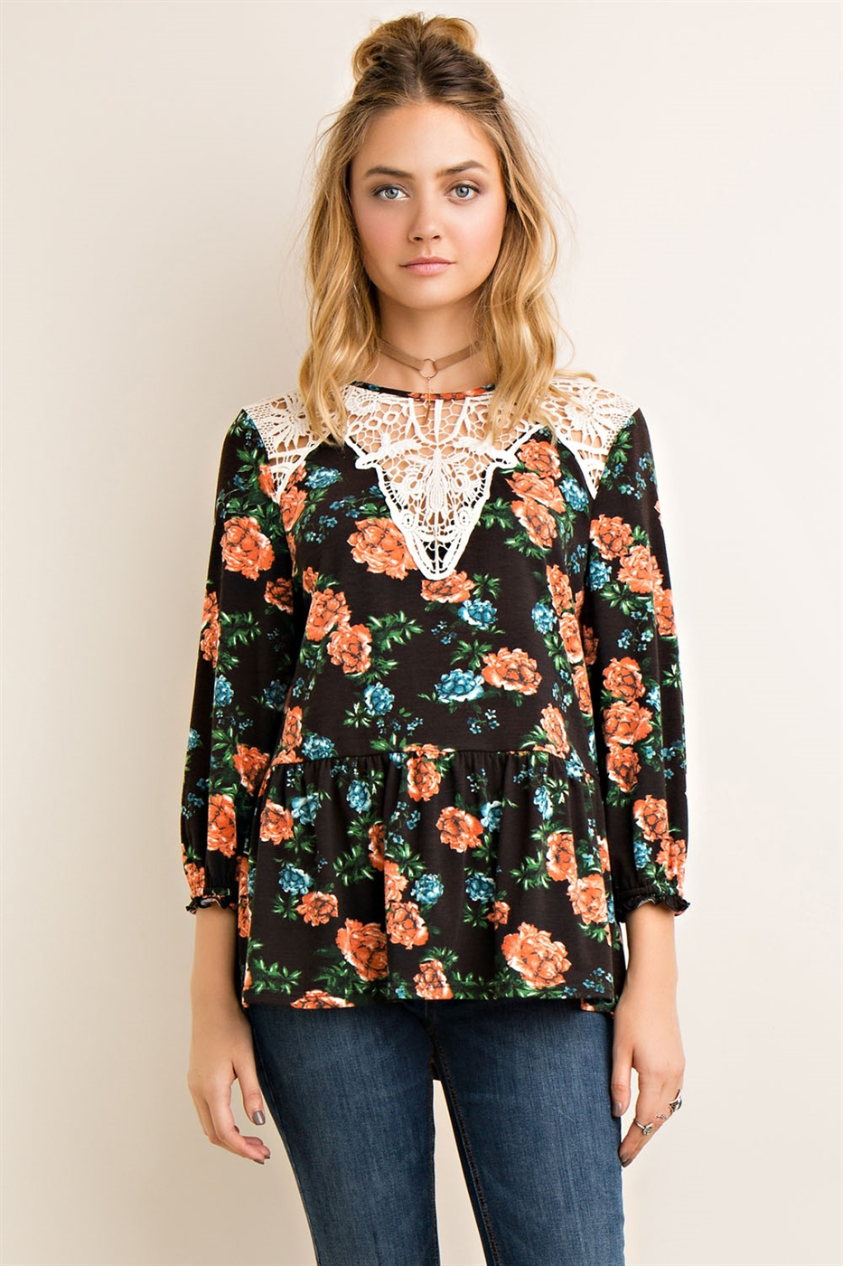 Floral Print Scoop Neck Top - orangeshine.com