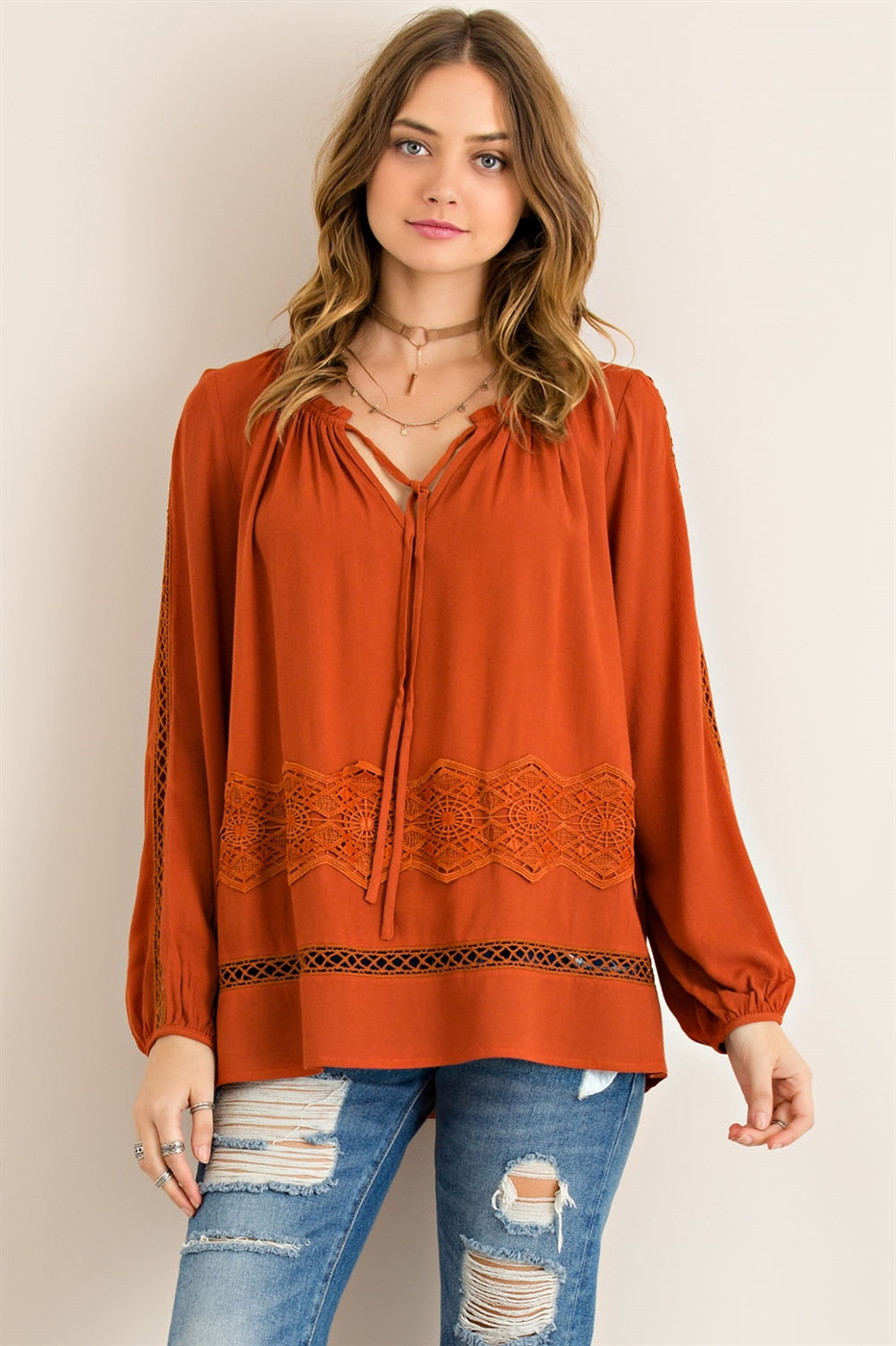 Solid Round Neck Blouse - orangeshine.com