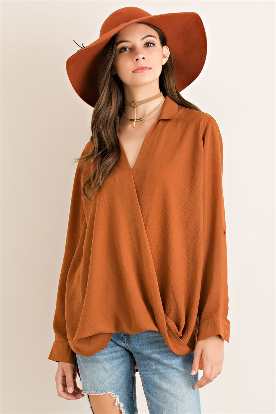 Solid Twisted Wrap Blouse - orangeshine.com