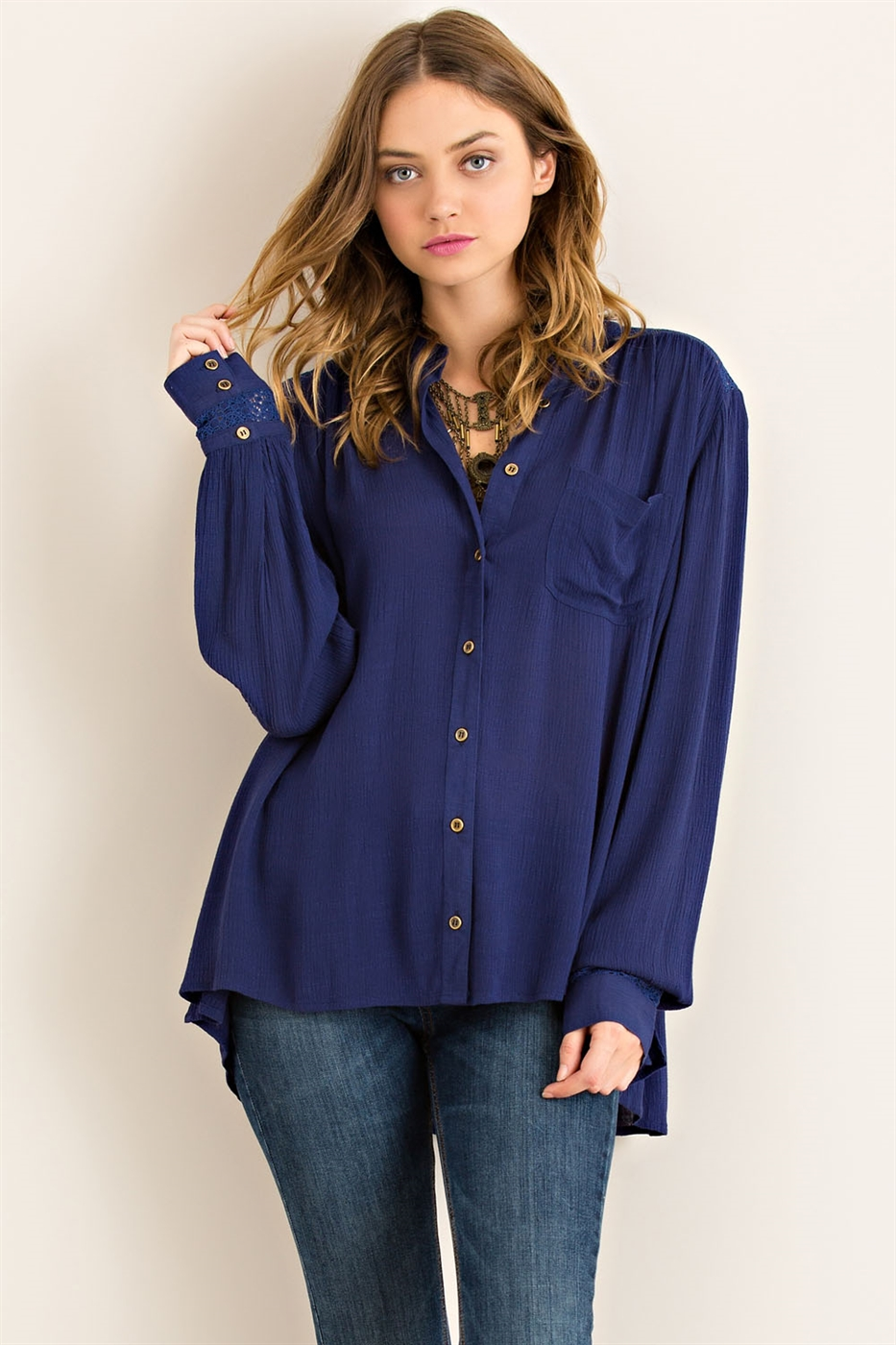 Solid Button Down Blouse - orangeshine.com