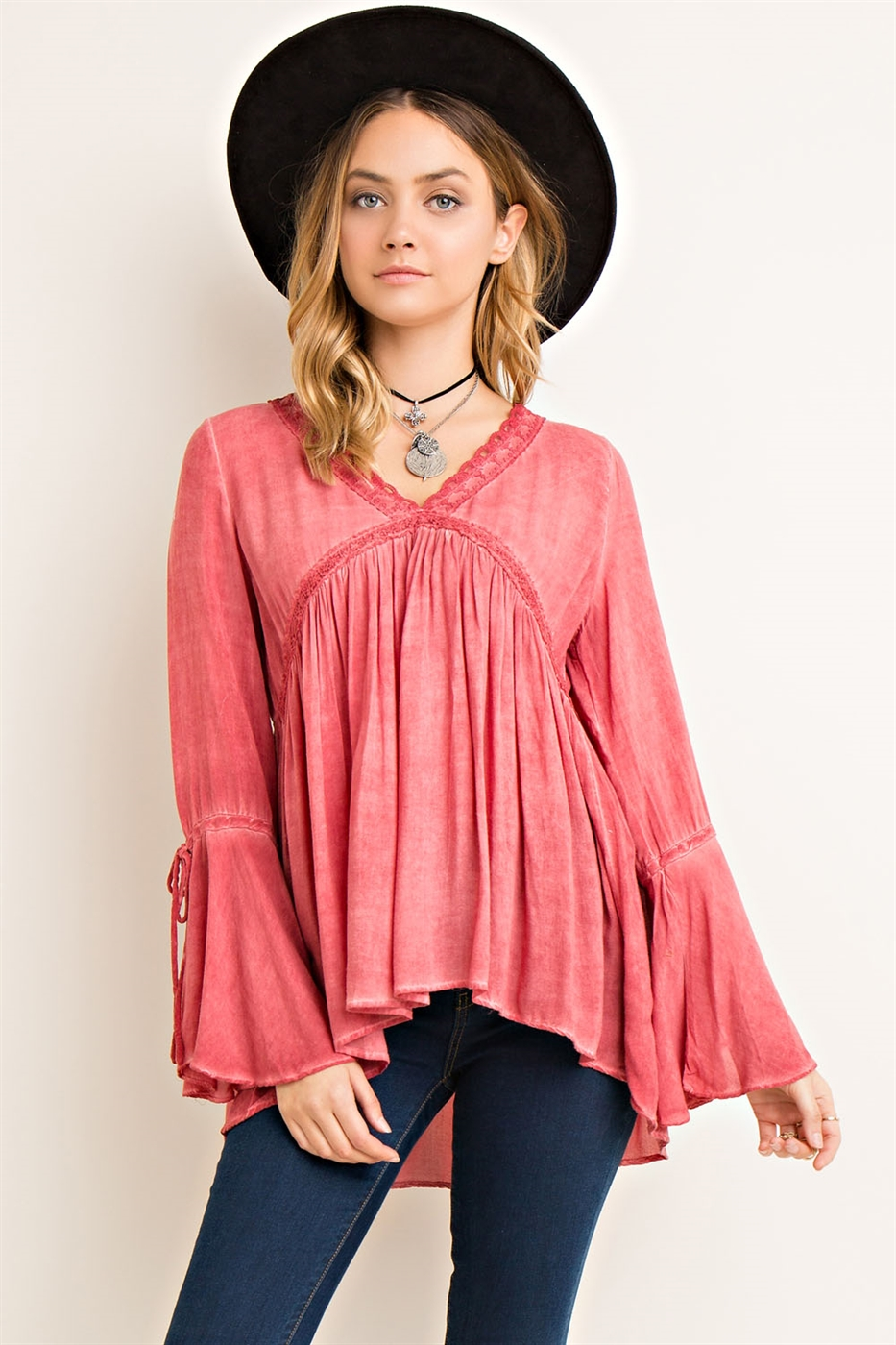 Washed Rayon V-Neck Blouse - orangeshine.com