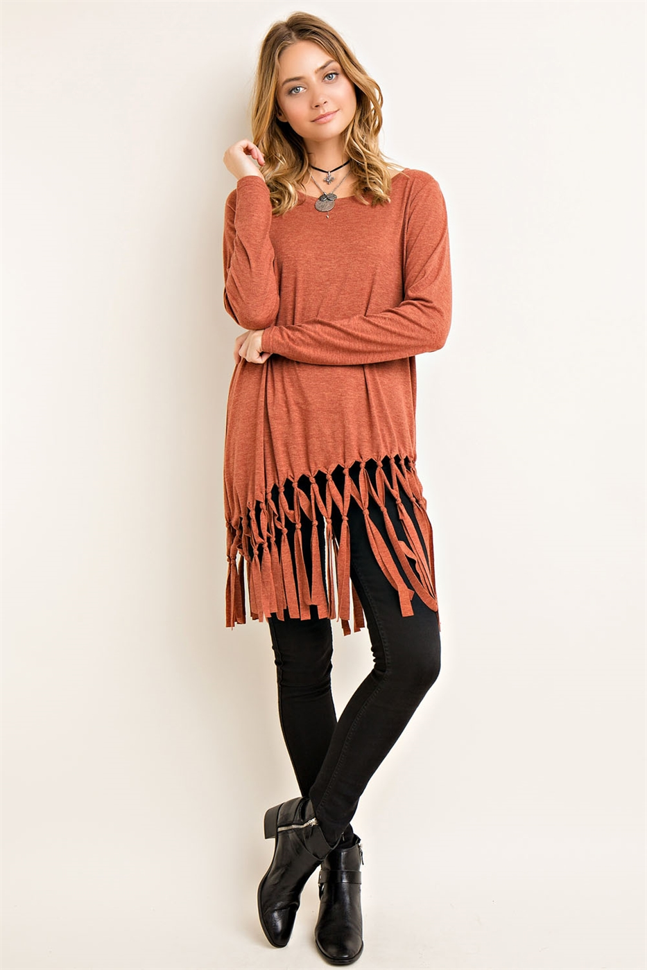 Melange Scoop Neck Tunic - orangeshine.com