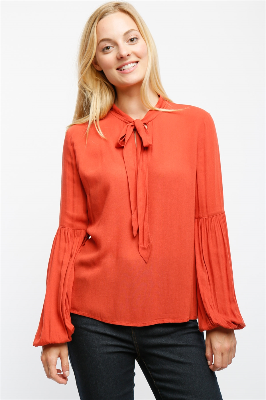 BALLOON SLEEVE TOP WITH TIE - orangeshine.com