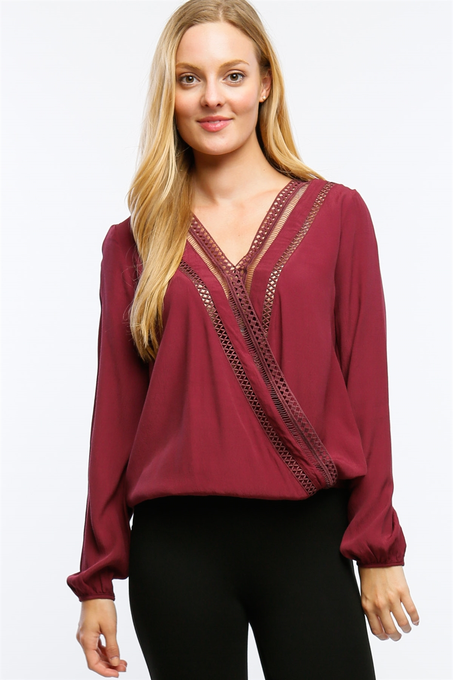 SURPLICE TOP W CROCHET INSET - orangeshine.com