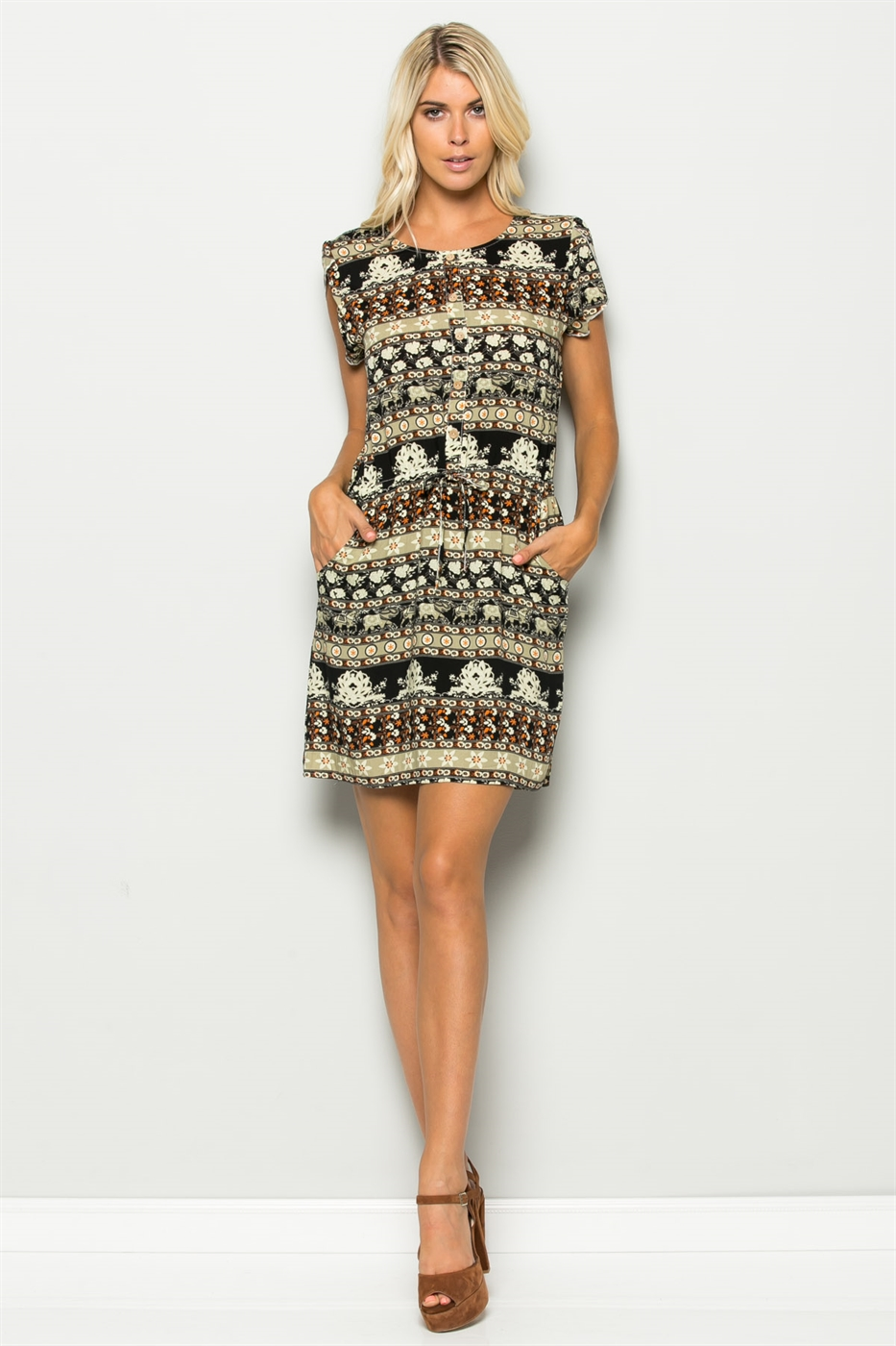 PRINT DRAWSTRING DRESS - orangeshine.com