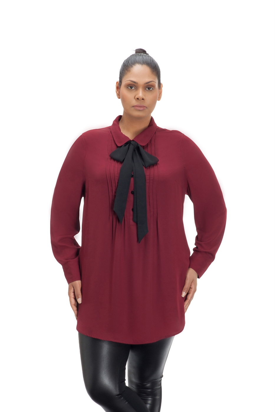 Burgundy Tie Neck Top - orangeshine.com