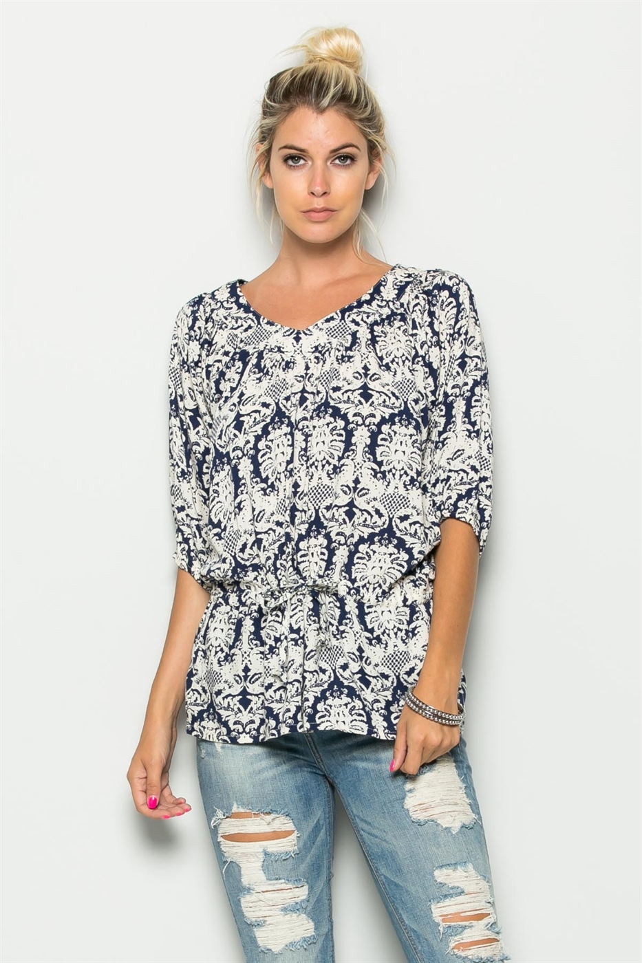 3/4 SLEEVE PRINT TOP - orangeshine.com