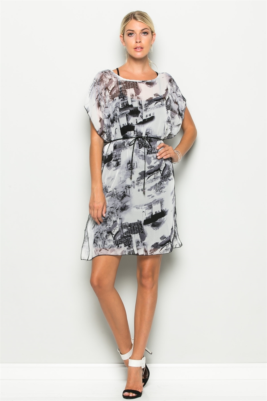 OVERSIZE TUNIC DRESS WITH TIE - orangeshine.com