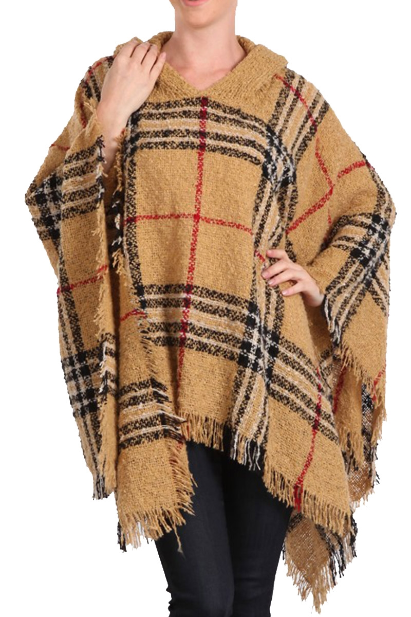 Multi Tone Plaid Fringe Poncho - orangeshine.com