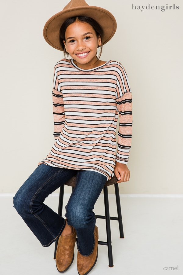 Stripe Asymmetrical Knit Top - orangeshine.com