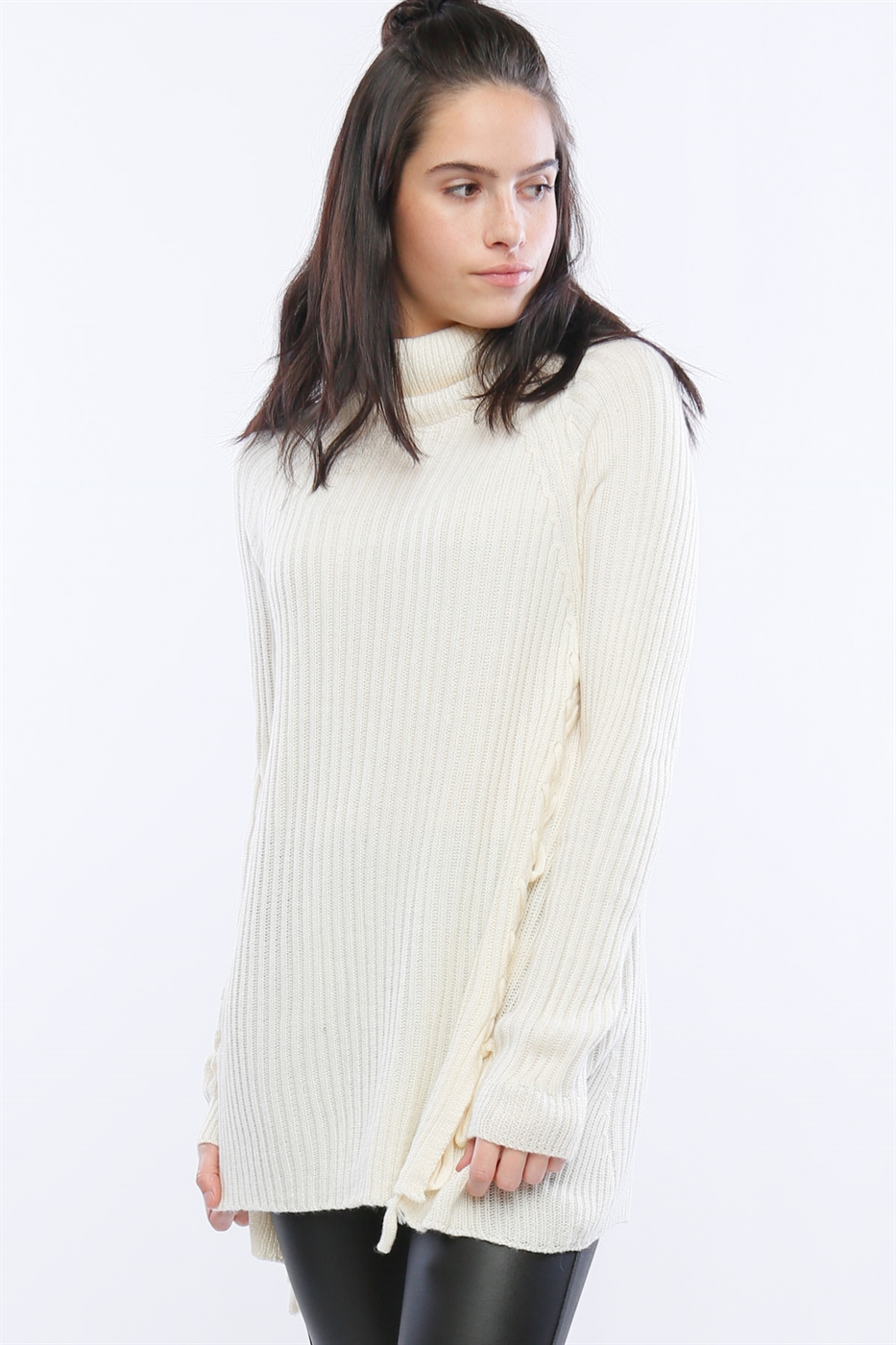 SWEATER WITH LACE UP SIDES - orangeshine.com
