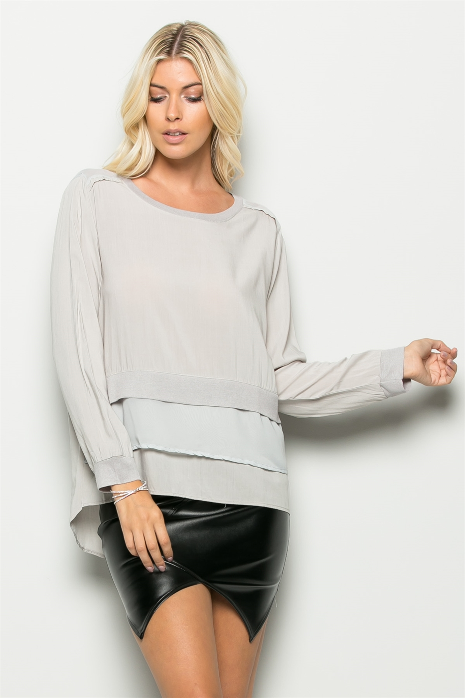 HIGH LOW COLOR BLOCK TOP - orangeshine.com