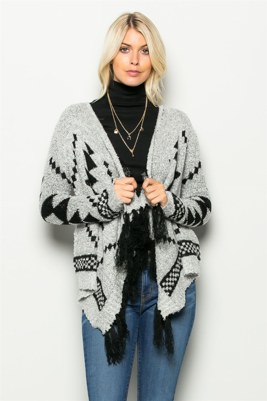 AZTEC OPEN SWEATER CARDIGAN - orangeshine.com