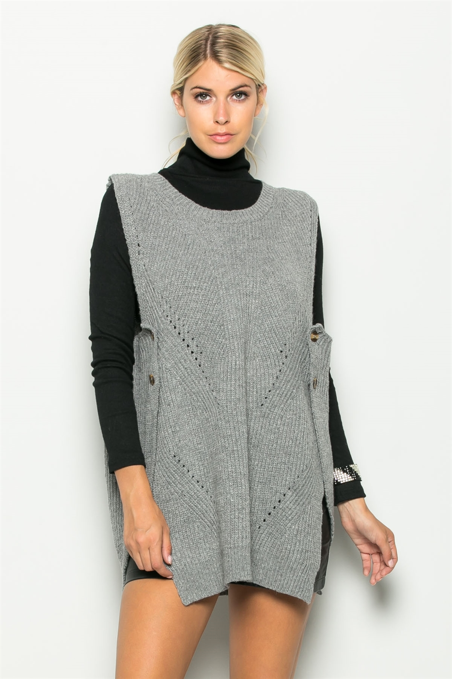 SIDE OPEN KNIT VEST SWEATER - orangeshine.com