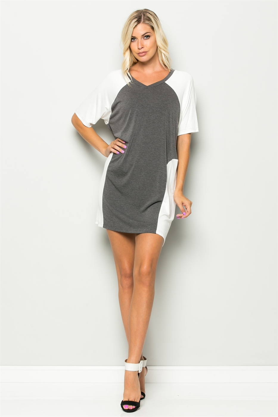 SCOOP NECK COLORBLOCK DRESS - orangeshine.com