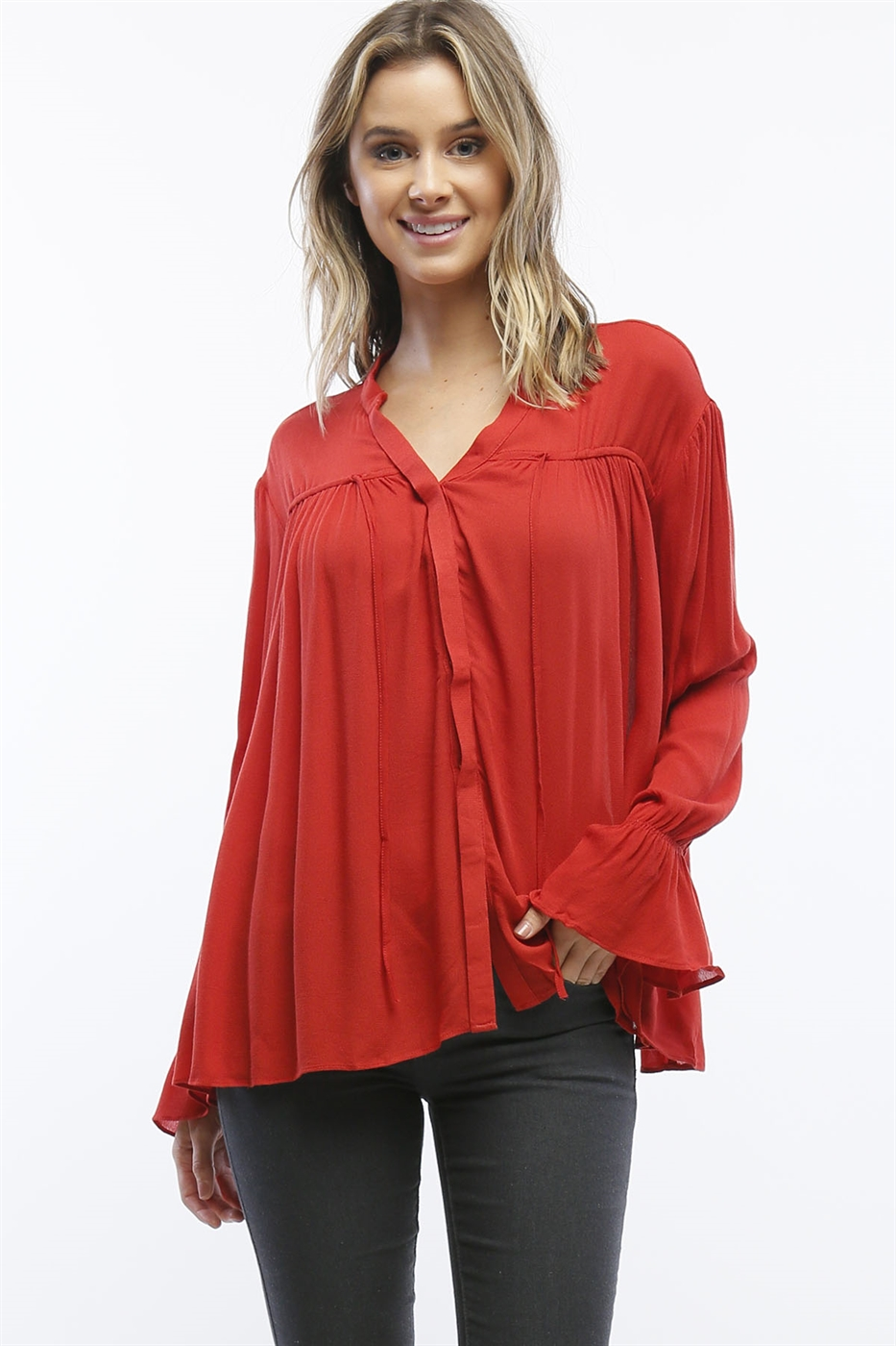 Crepe Neck-tie Flowy Top - orangeshine.com