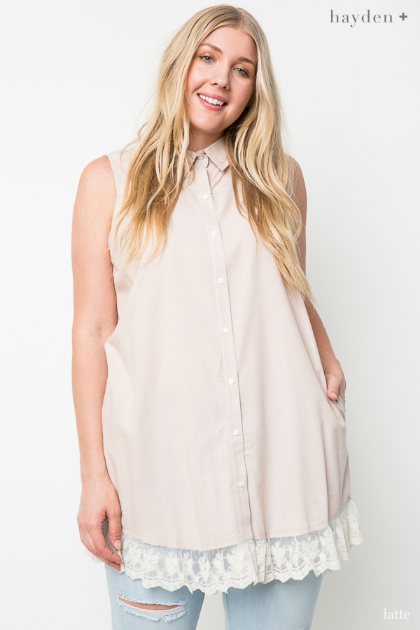 Sleeveless Lace Button Up - orangeshine.com