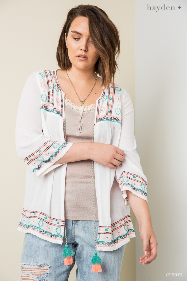 Colorful Embroidered Cardigan - orangeshine.com