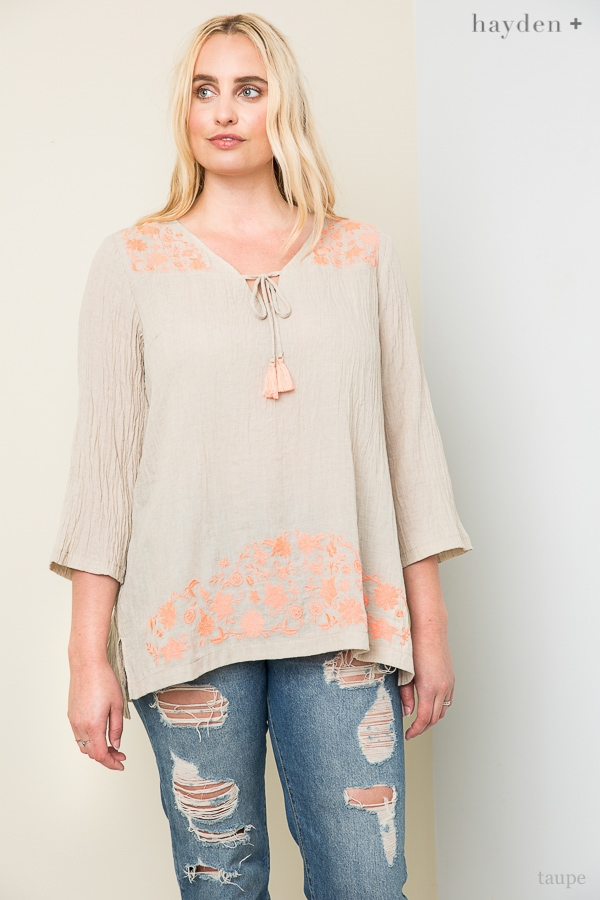 Floral Embroidered Tunic - orangeshine.com