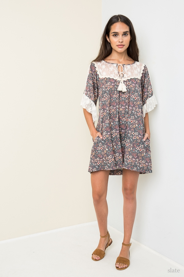 Printed Baby Doll Dress - orangeshine.com