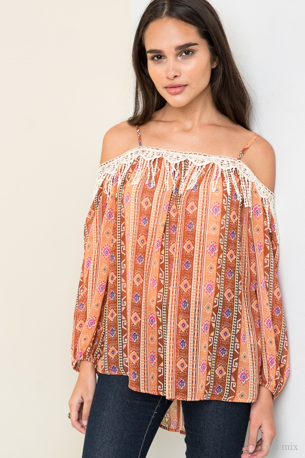 Tribal Off Shoulder Tunic - orangeshine.com