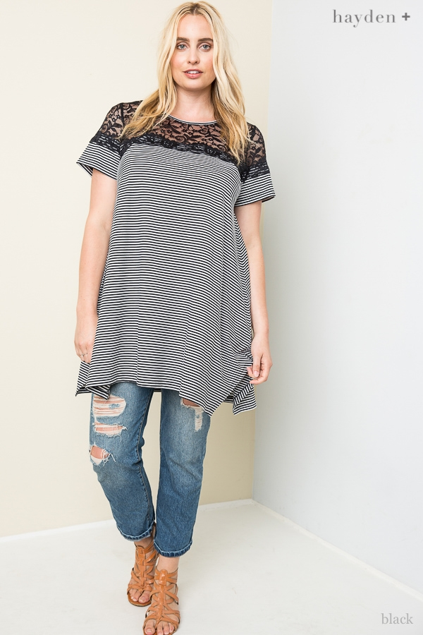 Striped Lace Tee - orangeshine.com