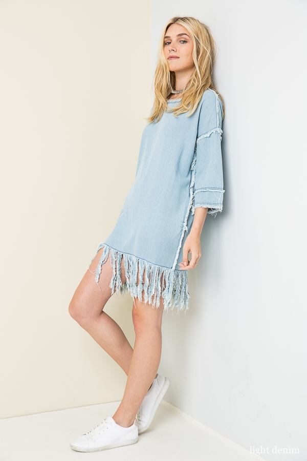 Denim Frayed Dress - orangeshine.com