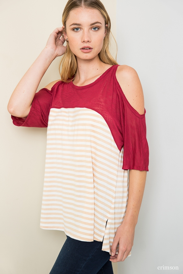 Cold Shoulder Striped Tee - orangeshine.com
