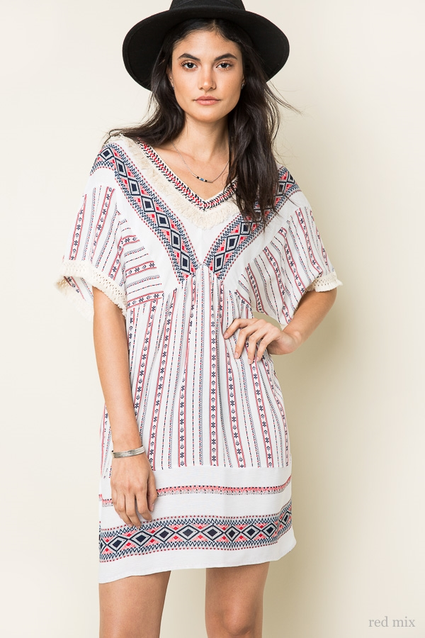 V-Neck Print Dress - orangeshine.com