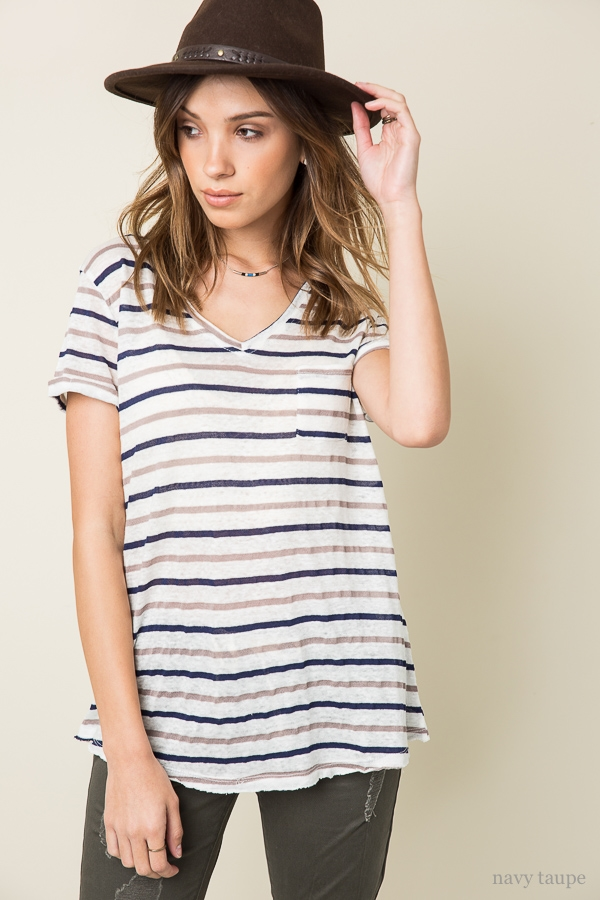 Stripe V-Neck Tee - orangeshine.com