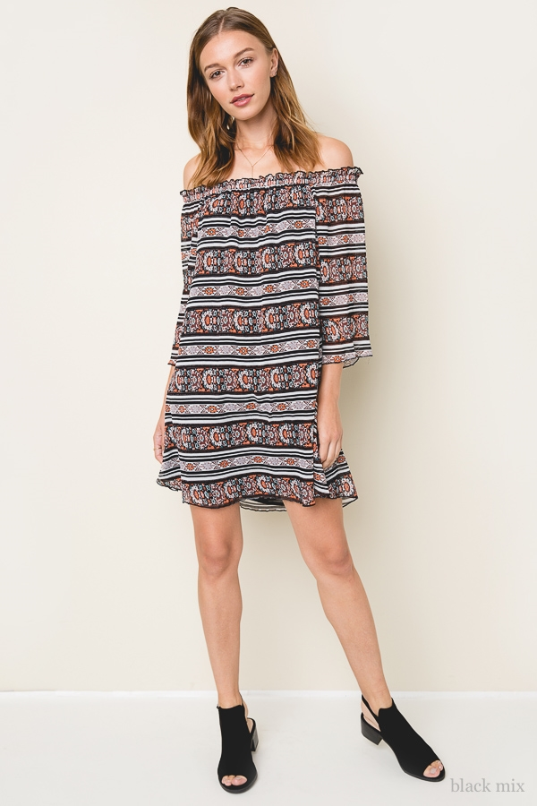 Off The Shoulder Printed Dress - orangeshine.com