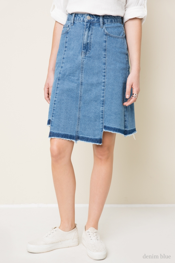 Frayed Denim Skirt - orangeshine.com