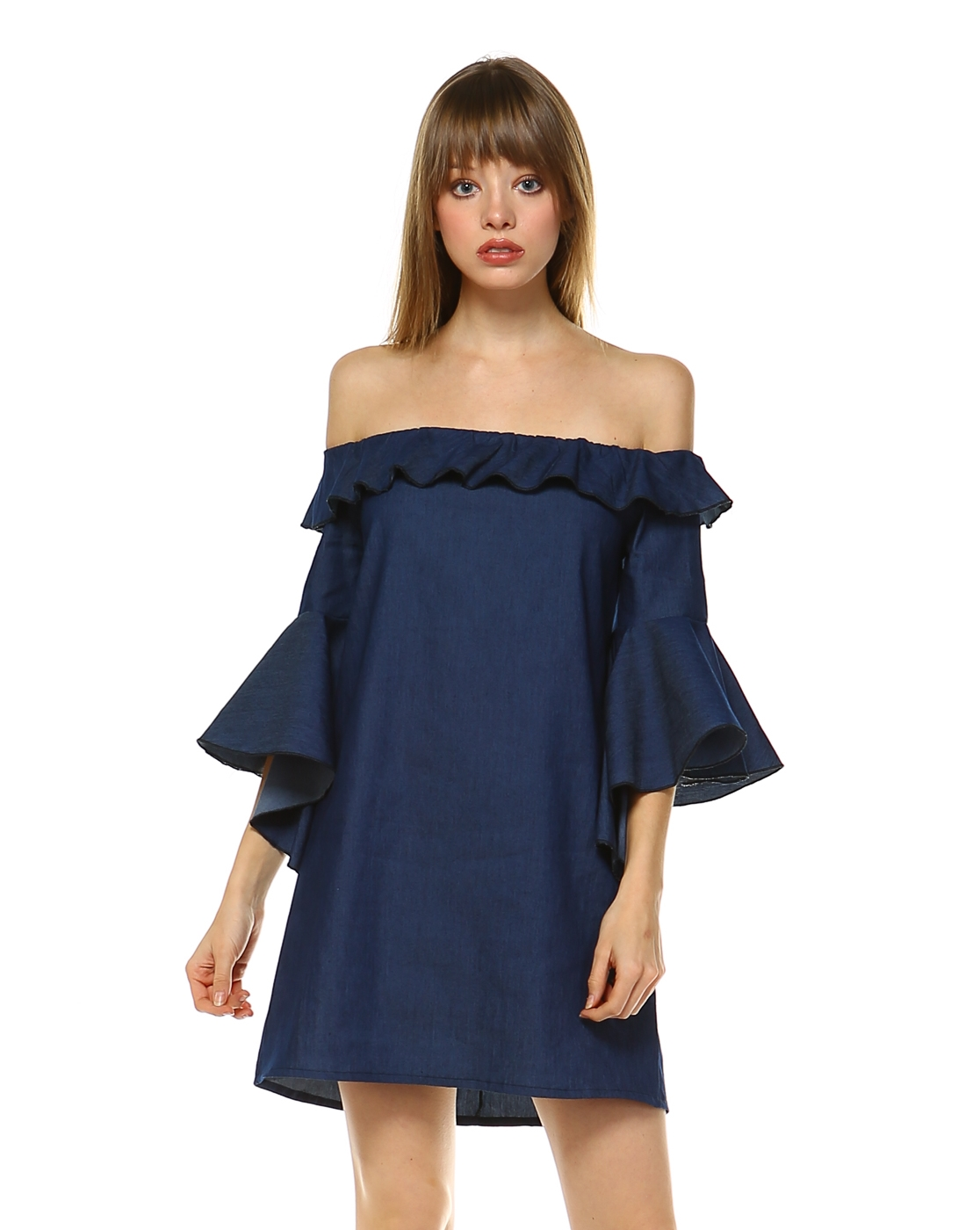 DENIM OFFSHOULDER RUFFLE DRESS - orangeshine.com