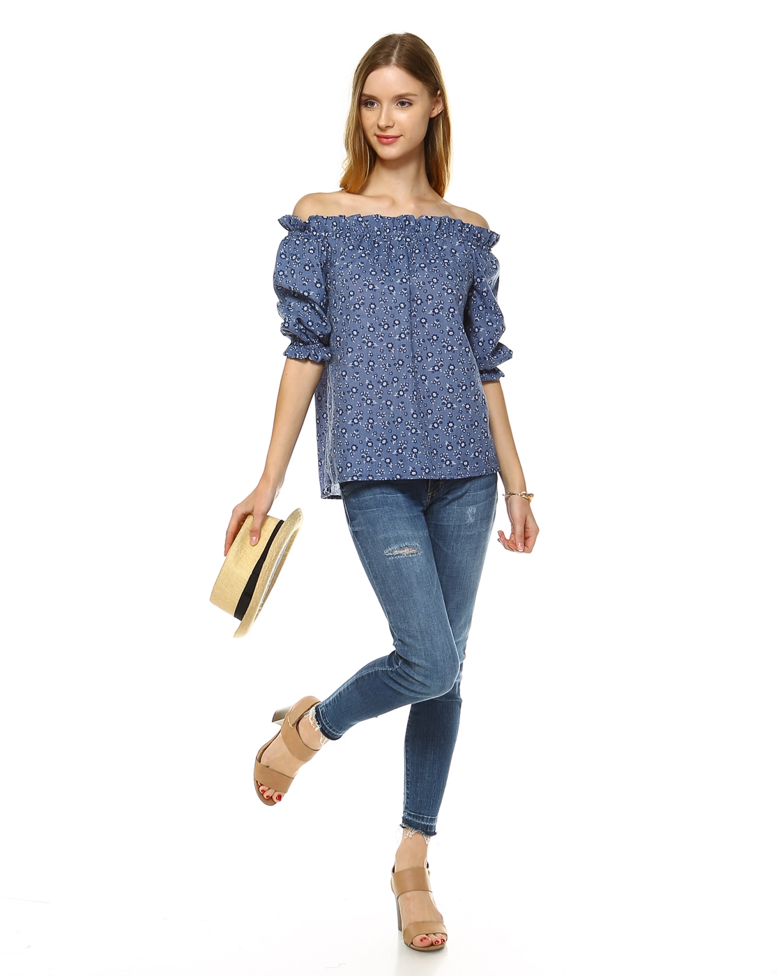 DENIM FLORAL OFF SHOULDER TOP - orangeshine.com
