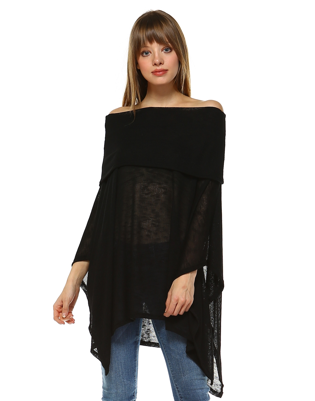 Off Shoulder Poncho - orangeshine.com