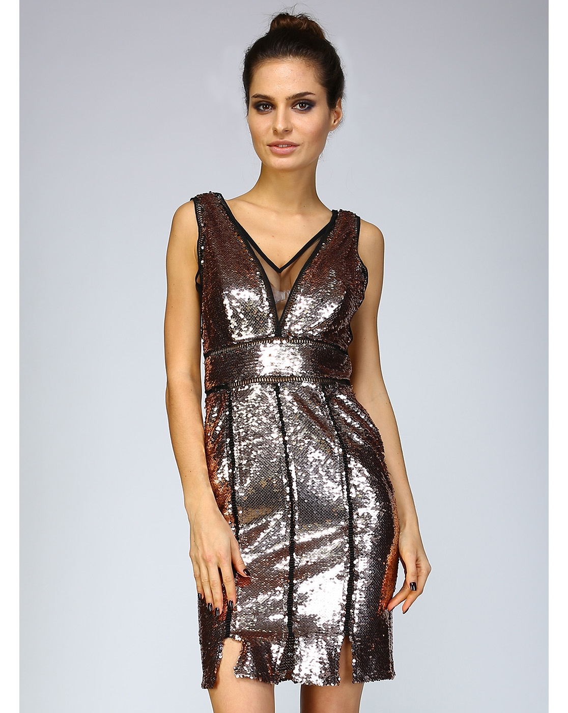 FITTED SEQUIN DRESS W MESH - orangeshine.com