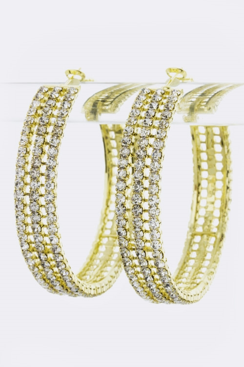 3 Row Rhinestone Hoop Earrings - orangeshine.com
