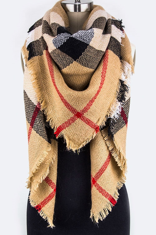 Mad For Plaid  Blanket Scarf - orangeshine.com