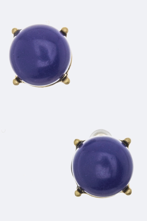 Round Stone Stud Earrings - orangeshine.com