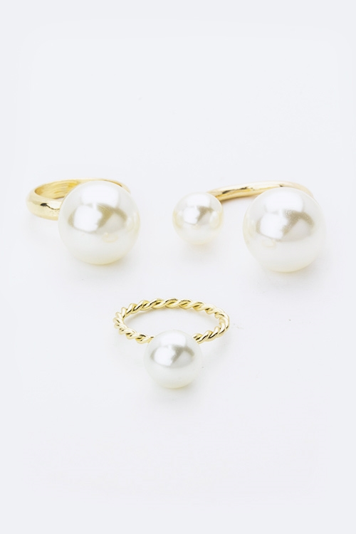 Mix Pearls Fashion Ring Set - orangeshine.com