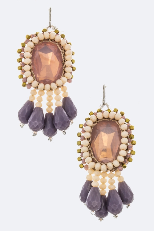 Crystal  Fringe Bead Earrings - orangeshine.com